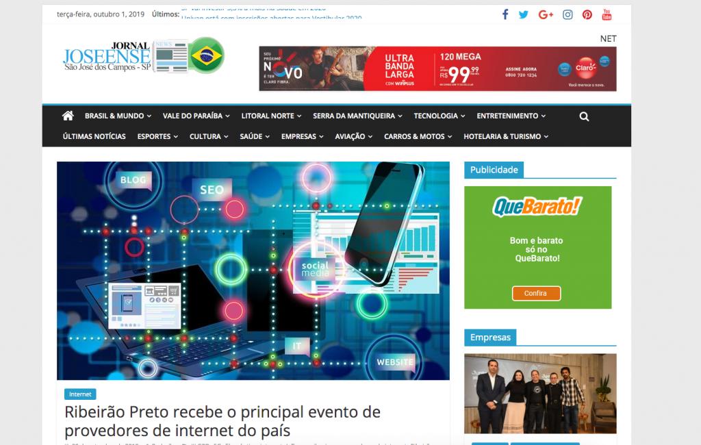 Destaque do congresso rti de data centers no Jornal Joseense (São José dos Campos - SP) no dia 1º de Outubro de 2019.